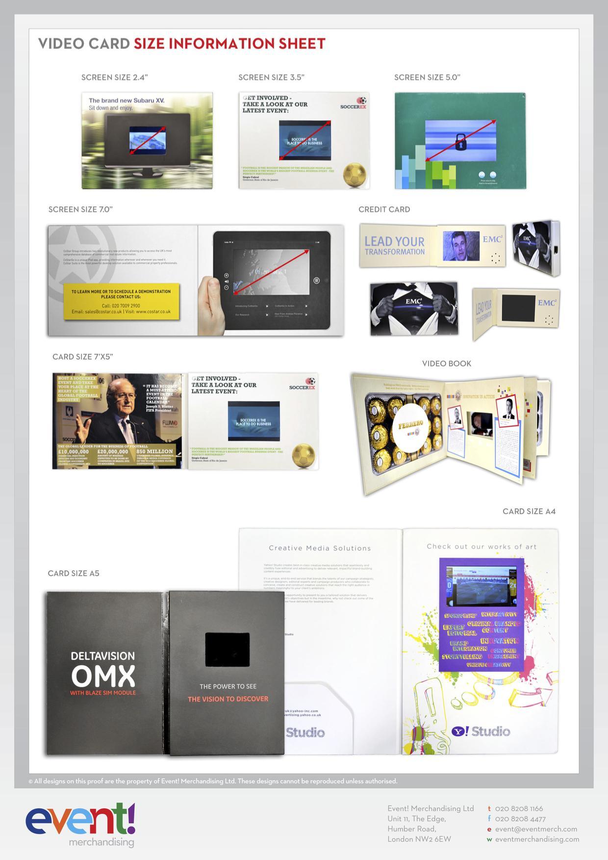 Video Brochure sizes